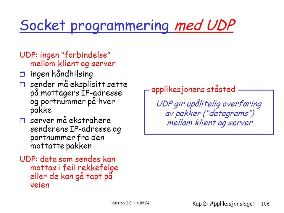 """Versjon 2.0 / 14.09.04 Kap 2: Applikasjonslaget106 Socket programmering med UDP UDP: ingen """"forbindelse"""" mellom klient og server r ingen håndhilsing r"""