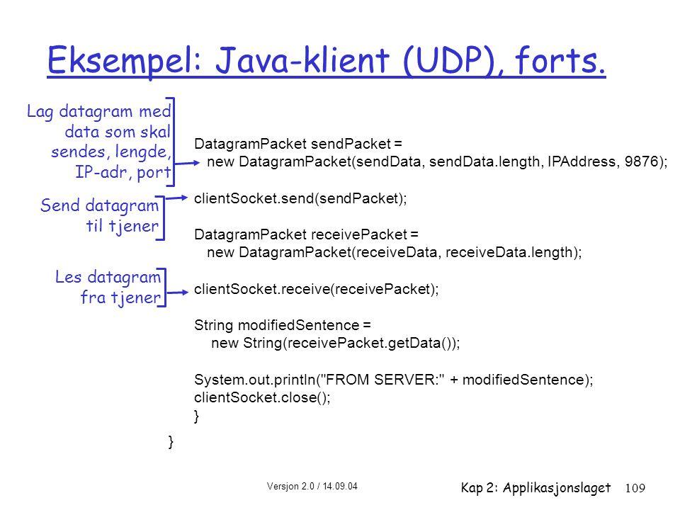 Versjon 2.0 / 14.09.04 Kap 2: Applikasjonslaget109 Eksempel: Java-klient (UDP), forts. DatagramPacket sendPacket = new DatagramPacket(sendData, sendDa
