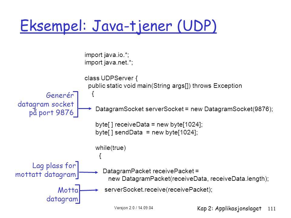 Versjon 2.0 / 14.09.04 Kap 2: Applikasjonslaget111 Eksempel: Java-tjener (UDP) import java.io.*; import java.net.*; class UDPServer { public static vo