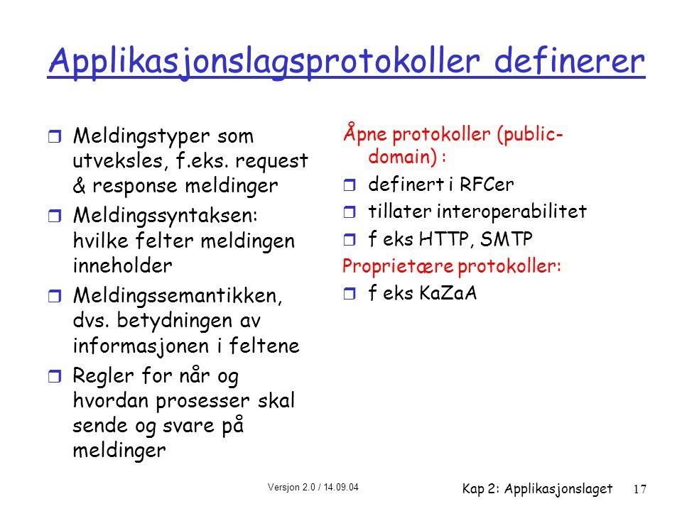 Versjon 2.0 / 14.09.04 Kap 2: Applikasjonslaget17 Applikasjonslagsprotokoller definerer r Meldingstyper som utveksles, f.eks. request & response meldi