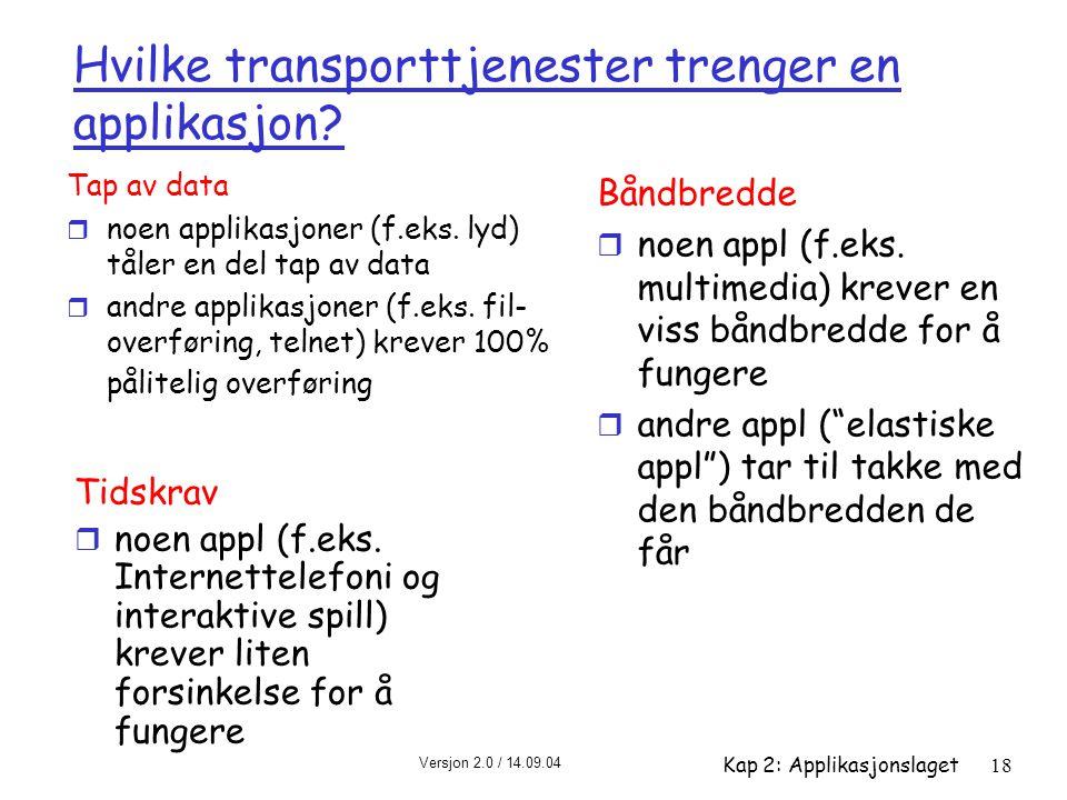 Versjon 2.0 / 14.09.04 Kap 2: Applikasjonslaget18 Hvilke transporttjenester trenger en applikasjon? Tap av data r noen applikasjoner (f.eks. lyd) tåle