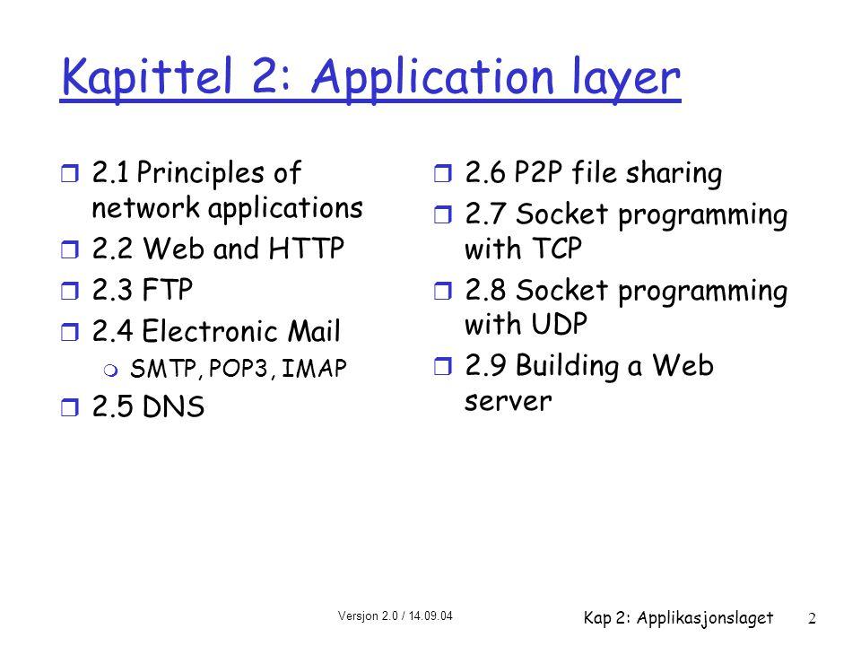Versjon 2.0 / 14.09.04 Kap 2: Applikasjonslaget2 Kapittel 2: Application layer r 2.1 Principles of network applications r 2.2 Web and HTTP r 2.3 FTP r