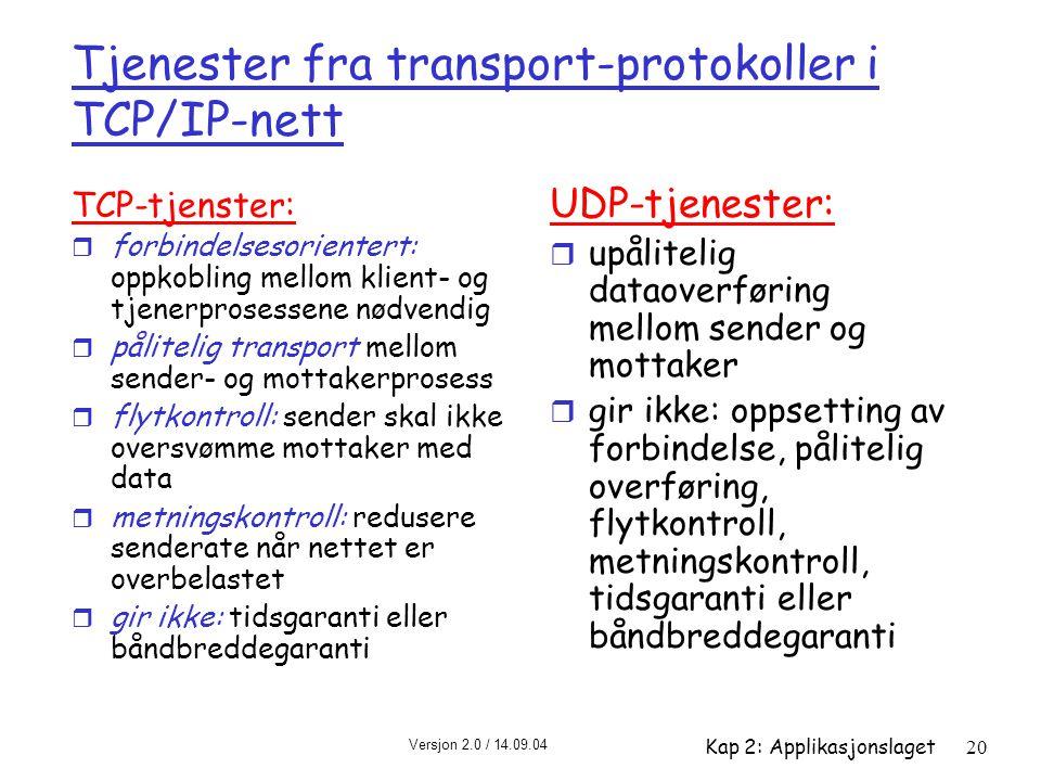 Versjon 2.0 / 14.09.04 Kap 2: Applikasjonslaget20 Tjenester fra transport-protokoller i TCP/IP-nett TCP-tjenster: r forbindelsesorientert: oppkobling