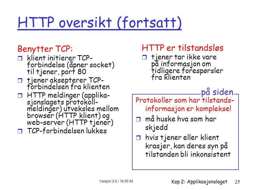 Versjon 2.0 / 14.09.04 Kap 2: Applikasjonslaget25 HTTP oversikt (fortsatt) Benytter TCP: r klient initierer TCP- forbindelse (åpner socket) til tjener