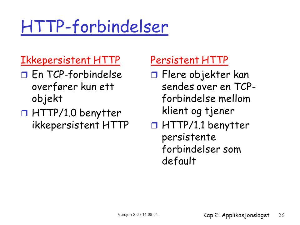 Versjon 2.0 / 14.09.04 Kap 2: Applikasjonslaget26 HTTP-forbindelser Ikkepersistent HTTP r En TCP-forbindelse overfører kun ett objekt r HTTP/1.0 benyt