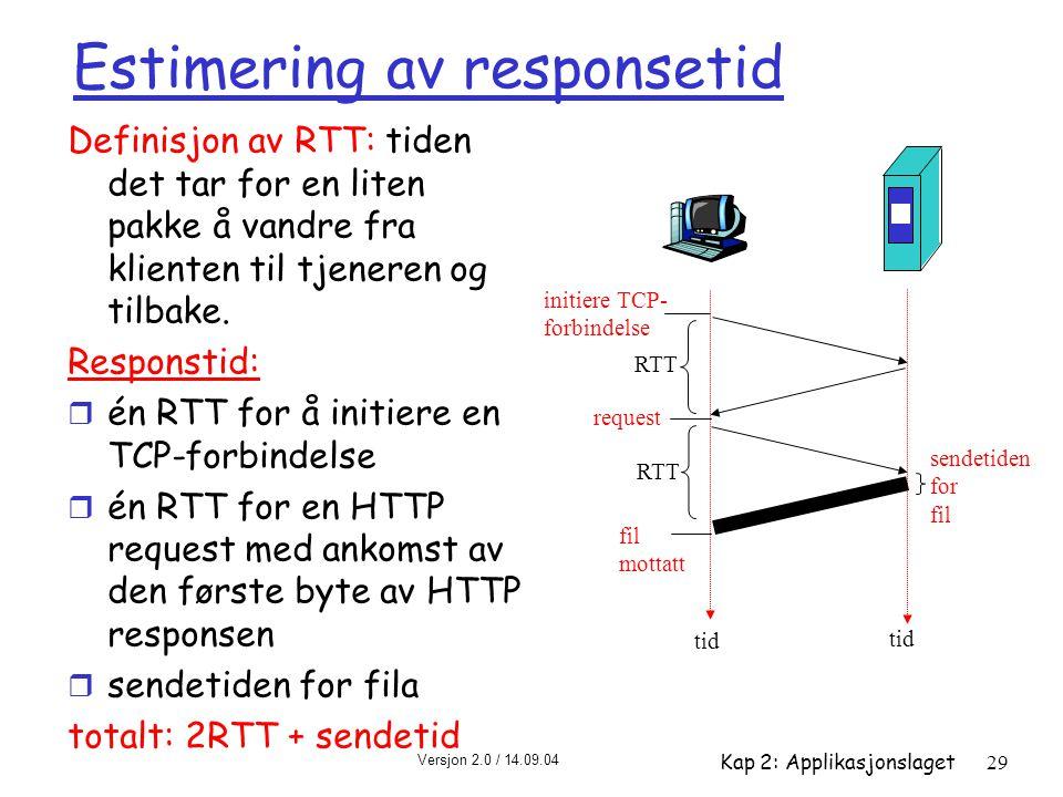 Versjon 2.0 / 14.09.04 Kap 2: Applikasjonslaget29 Estimering av responsetid Definisjon av RTT: tiden det tar for en liten pakke å vandre fra klienten