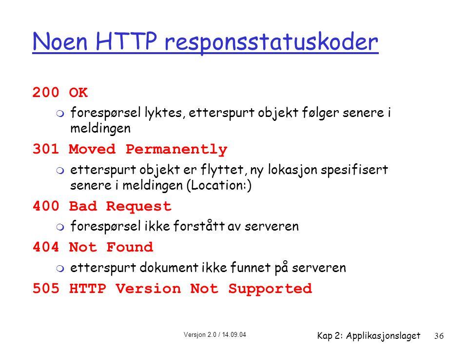 Versjon 2.0 / 14.09.04 Kap 2: Applikasjonslaget36 Noen HTTP responsstatuskoder 200 OK m forespørsel lyktes, etterspurt objekt følger senere i meldinge