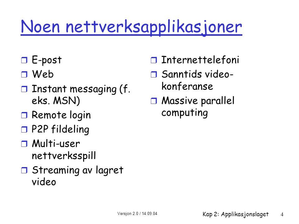 Versjon 2.0 / 14.09.04 Kap 2: Applikasjonslaget4 Noen nettverksapplikasjoner r E-post r Web r Instant messaging (f. eks. MSN) r Remote login r P2P fil