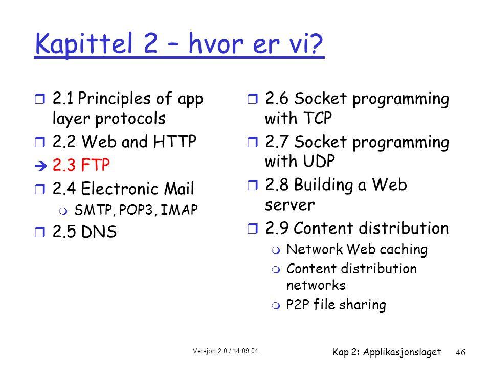 Versjon 2.0 / 14.09.04 Kap 2: Applikasjonslaget46 Kapittel 2 – hvor er vi? r 2.1 Principles of app layer protocols r 2.2 Web and HTTP è 2.3 FTP r 2.4