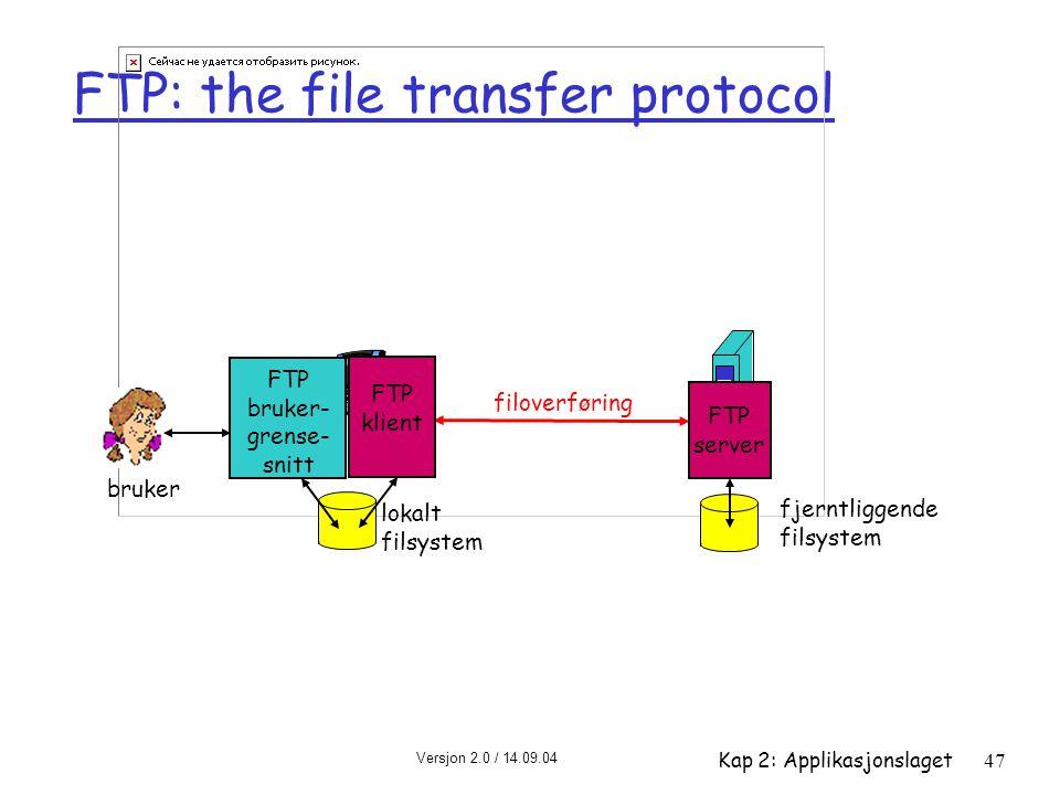 Versjon 2.0 / 14.09.04 Kap 2: Applikasjonslaget47 FTP: the file transfer protocol filoverføring FTP server FTP bruker- grense- snitt FTP klient lokalt