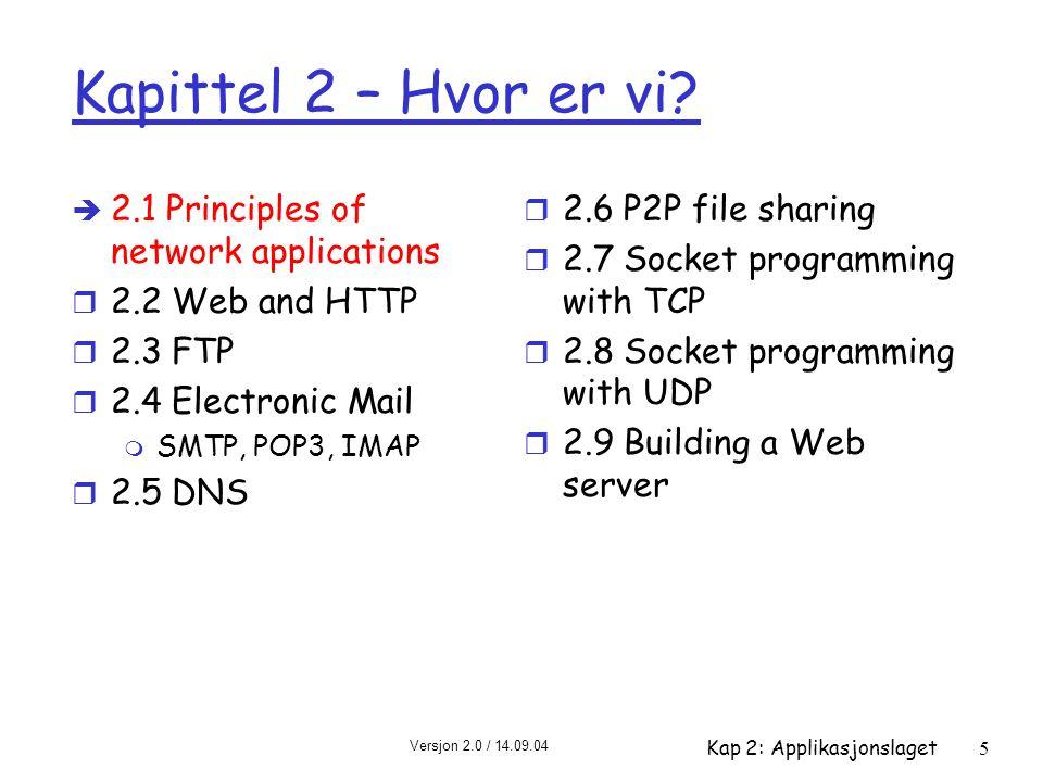 Versjon 2.0 / 14.09.04 Kap 2: Applikasjonslaget5 Kapittel 2 – Hvor er vi? è 2.1 Principles of network applications r 2.2 Web and HTTP r 2.3 FTP r 2.4