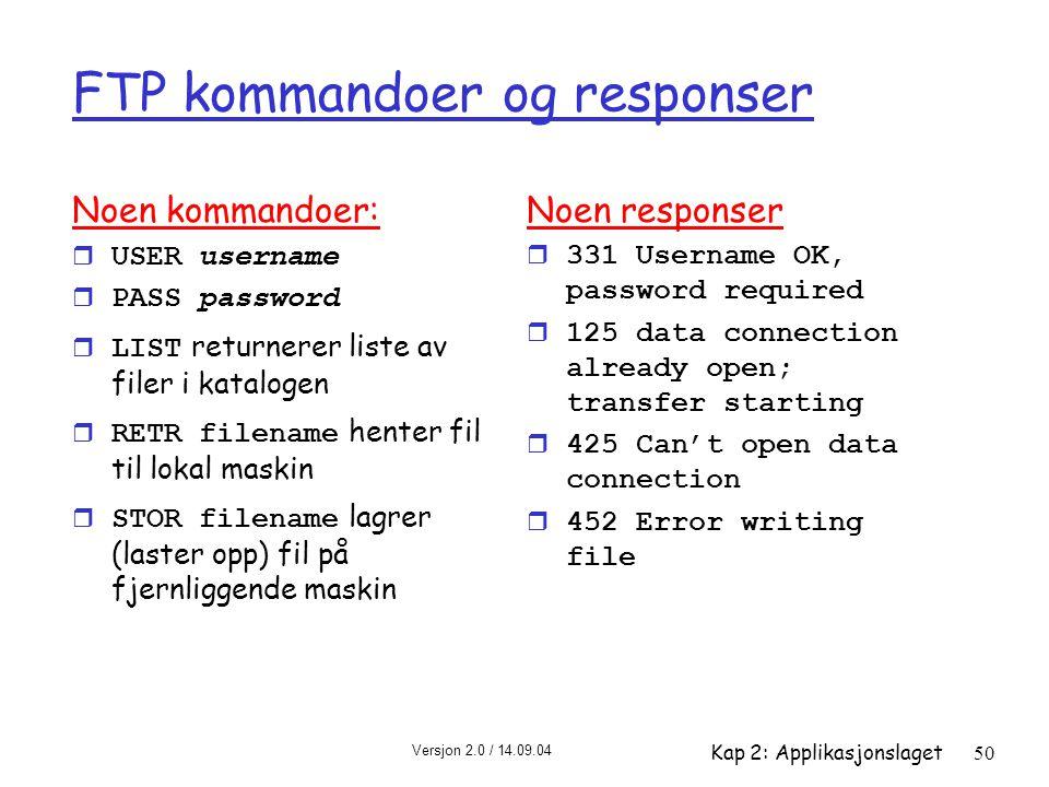 Versjon 2.0 / 14.09.04 Kap 2: Applikasjonslaget50 FTP kommandoer og responser Noen kommandoer:  USER username  PASS password  LIST returnerer liste