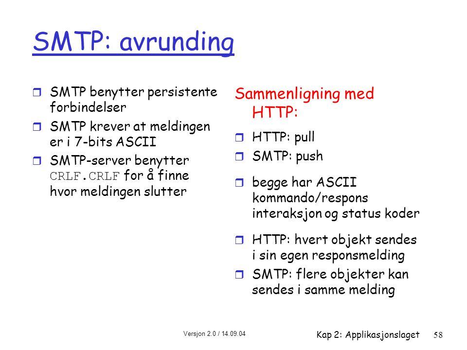 Versjon 2.0 / 14.09.04 Kap 2: Applikasjonslaget58 SMTP: avrunding r SMTP benytter persistente forbindelser r SMTP krever at meldingen er i 7-bits ASCI