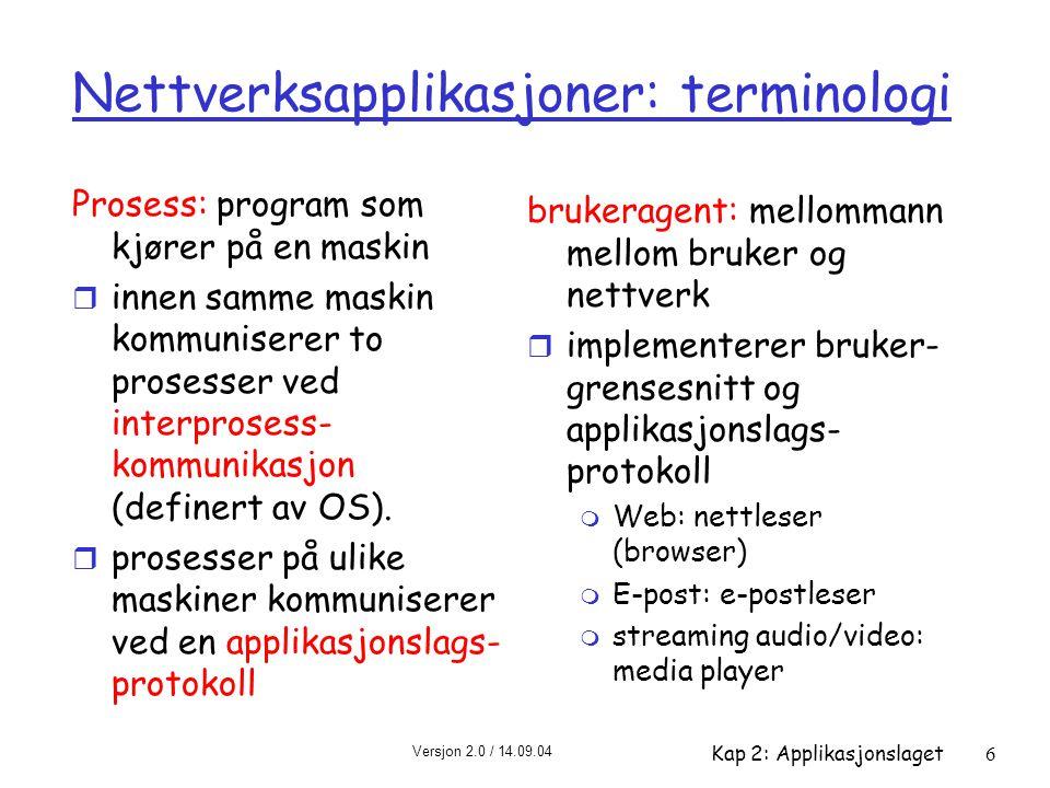 Versjon 2.0 / 14.09.04 Kap 2: Applikasjonslaget6 Nettverksapplikasjoner: terminologi Prosess: program som kjører på en maskin r innen samme maskin kom
