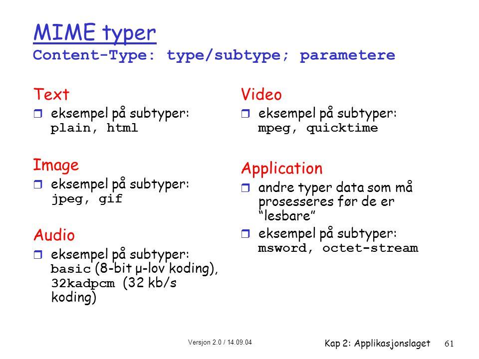 Versjon 2.0 / 14.09.04 Kap 2: Applikasjonslaget61 MIME typer Content-Type: type/subtype; parametere Text  eksempel på subtyper: plain, html Image  e