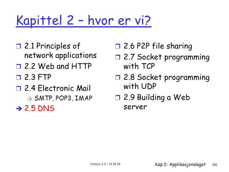 Versjon 2.0 / 14.09.04 Kap 2: Applikasjonslaget66 Kapittel 2 – hvor er vi? r 2.1 Principles of network applications r 2.2 Web and HTTP r 2.3 FTP r 2.4