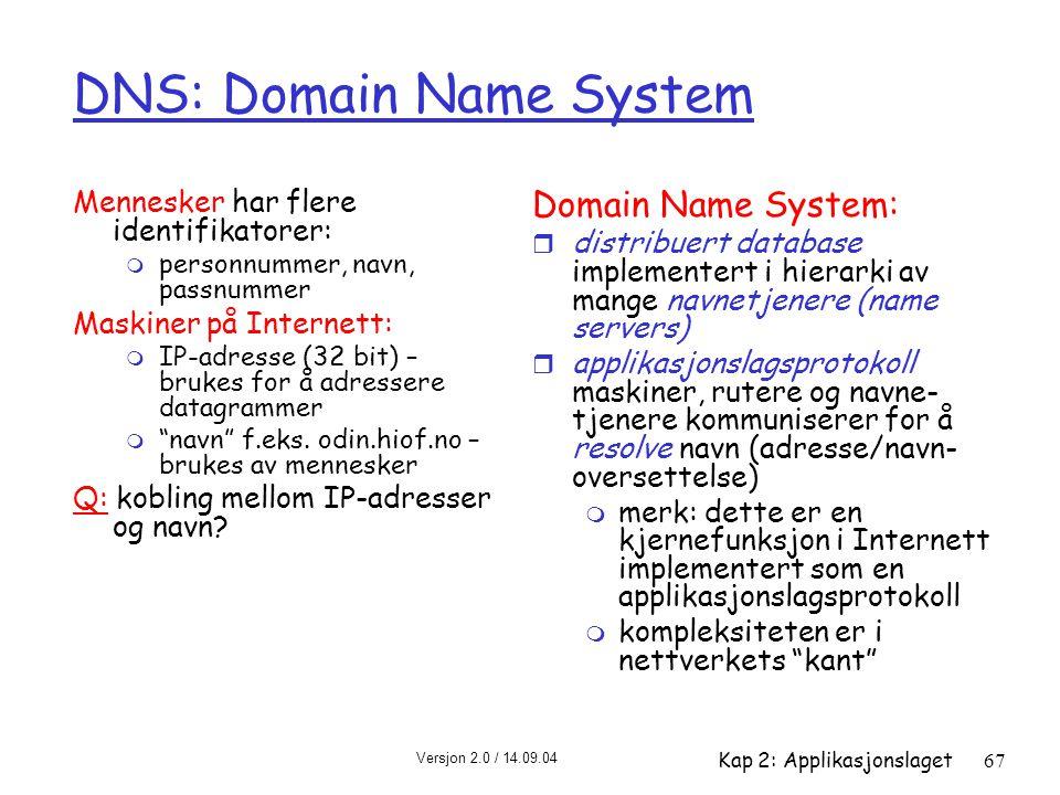 Versjon 2.0 / 14.09.04 Kap 2: Applikasjonslaget67 DNS: Domain Name System Mennesker har flere identifikatorer: m personnummer, navn, passnummer Maskin