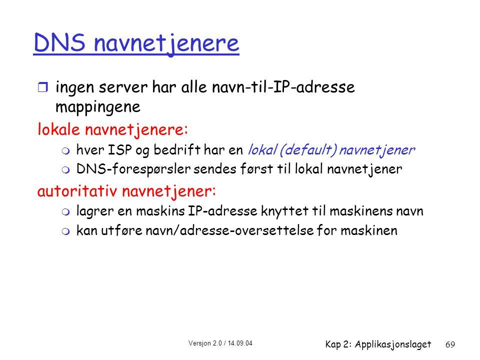 Versjon 2.0 / 14.09.04 Kap 2: Applikasjonslaget69 DNS navnetjenere r ingen server har alle navn-til-IP-adresse mappingene lokale navnetjenere: m hver