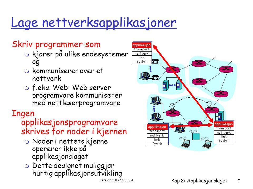 Versjon 2.0 / 14.09.04 Kap 2: Applikasjonslaget7 Lage nettverksapplikasjoner Skriv programmer som m kjører på ulike endesystemer og m kommuniserer ove