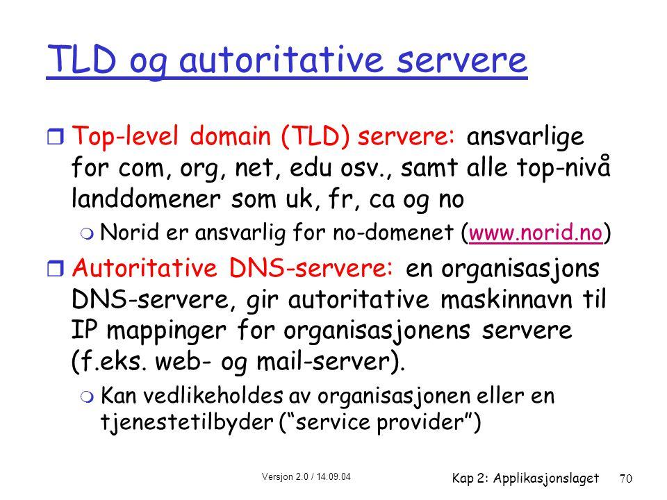 Versjon 2.0 / 14.09.04 Kap 2: Applikasjonslaget70 TLD og autoritative servere r Top-level domain (TLD) servere: ansvarlige for com, org, net, edu osv.