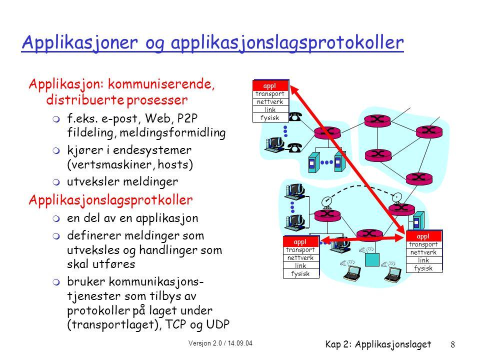 Versjon 2.0 / 14.09.04 Kap 2: Applikasjonslaget8 Applikasjoner og applikasjonslagsprotokoller Applikasjon: kommuniserende, distribuerte prosesser m f.