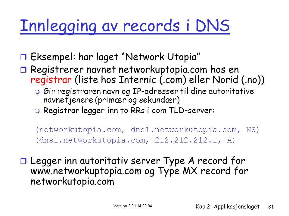 """Versjon 2.0 / 14.09.04 Kap 2: Applikasjonslaget81 Innlegging av records i DNS r Eksempel: har laget """"Network Utopia"""" r Registrerer navnet networkuptop"""