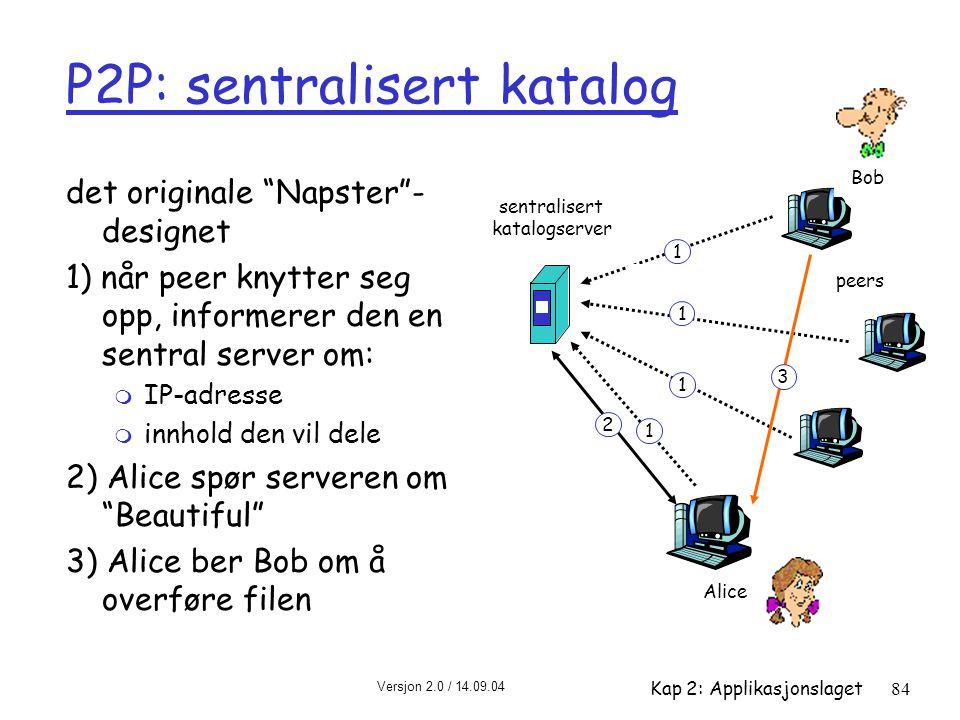 """Versjon 2.0 / 14.09.04 Kap 2: Applikasjonslaget84 P2P: sentralisert katalog det originale """"Napster""""- designet 1) når peer knytter seg opp, informerer"""