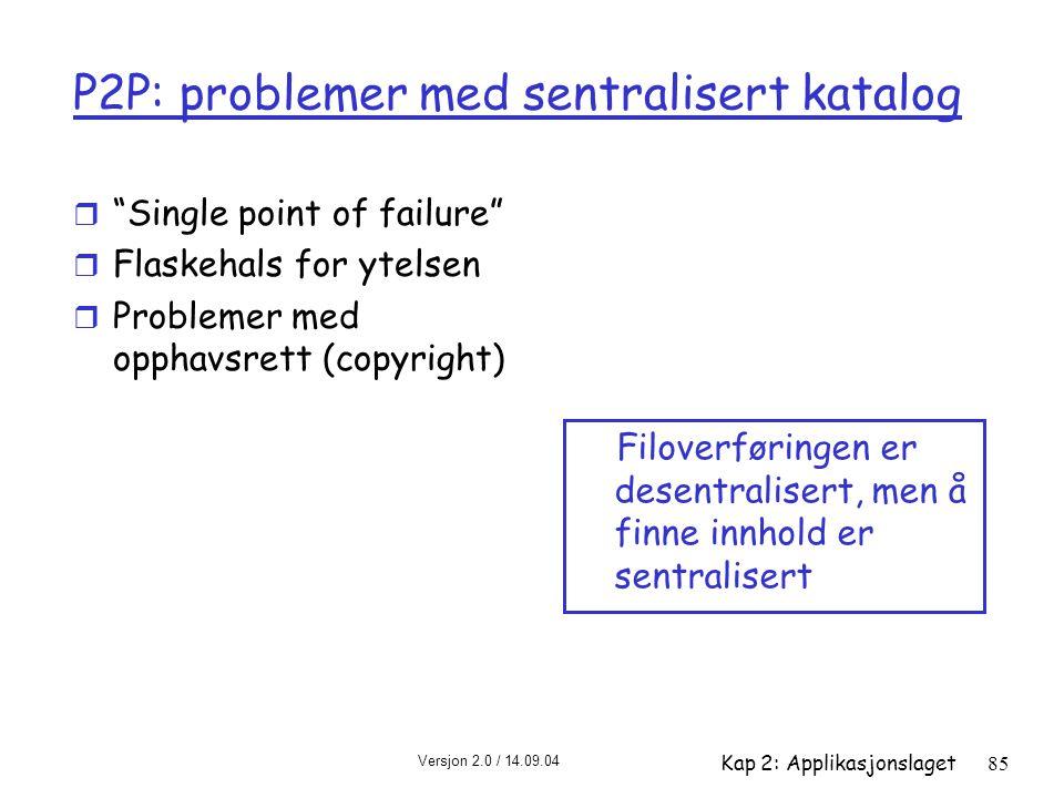 """Versjon 2.0 / 14.09.04 Kap 2: Applikasjonslaget85 P2P: problemer med sentralisert katalog r """"Single point of failure"""" r Flaskehals for ytelsen r Probl"""
