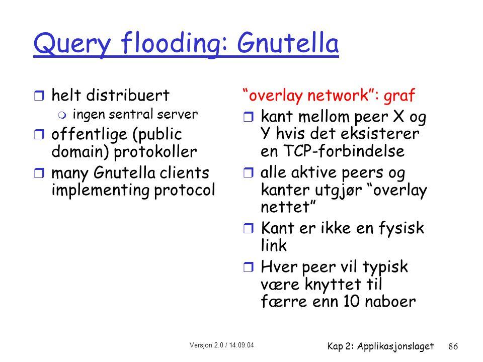 Versjon 2.0 / 14.09.04 Kap 2: Applikasjonslaget86 Query flooding: Gnutella r helt distribuert m ingen sentral server r offentlige (public domain) prot