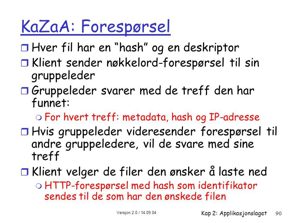 """Versjon 2.0 / 14.09.04 Kap 2: Applikasjonslaget90 KaZaA: Forespørsel r Hver fil har en """"hash"""" og en deskriptor r Klient sender nøkkelord-forespørsel t"""