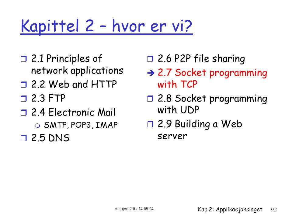 Versjon 2.0 / 14.09.04 Kap 2: Applikasjonslaget92 Kapittel 2 – hvor er vi? r 2.1 Principles of network applications r 2.2 Web and HTTP r 2.3 FTP r 2.4