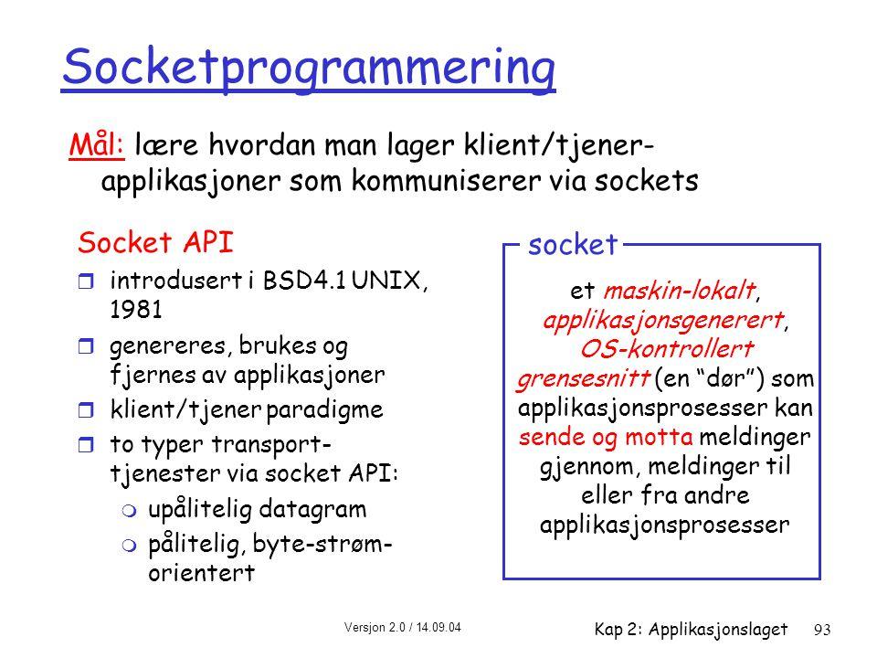 Versjon 2.0 / 14.09.04 Kap 2: Applikasjonslaget93 Socketprogrammering Socket API r introdusert i BSD4.1 UNIX, 1981 r genereres, brukes og fjernes av a