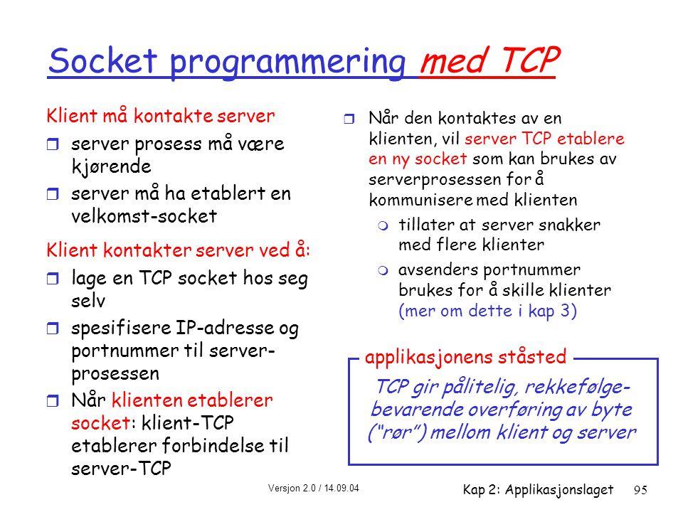 Versjon 2.0 / 14.09.04 Kap 2: Applikasjonslaget95 Socket programmering med TCP Klient må kontakte server r server prosess må være kjørende r server må