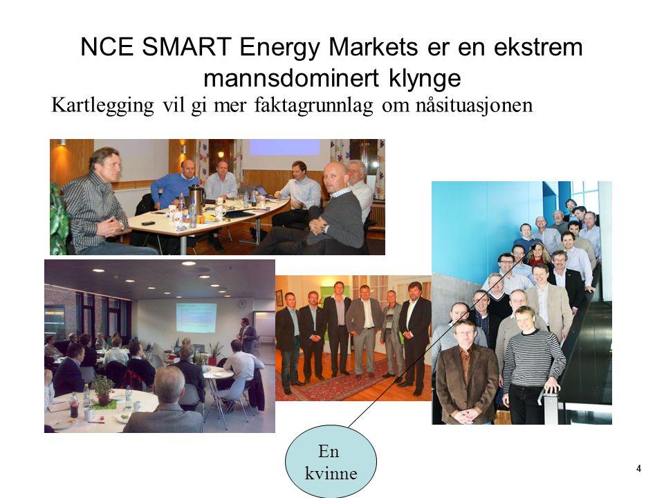 NCE SMART Energy Markets er en ekstrem mannsdominert klynge 4 Kartlegging vil gi mer faktagrunnlag om nåsituasjonen En kvinne