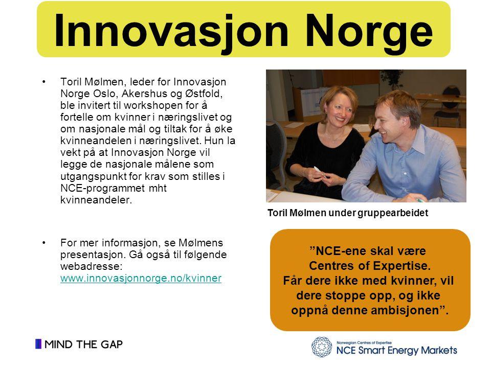Toril Mølmen, leder for Innovasjon Norge Oslo, Akershus og Østfold, ble invitert til workshopen for å fortelle om kvinner i næringslivet og om nasjonale mål og tiltak for å øke kvinneandelen i næringslivet.