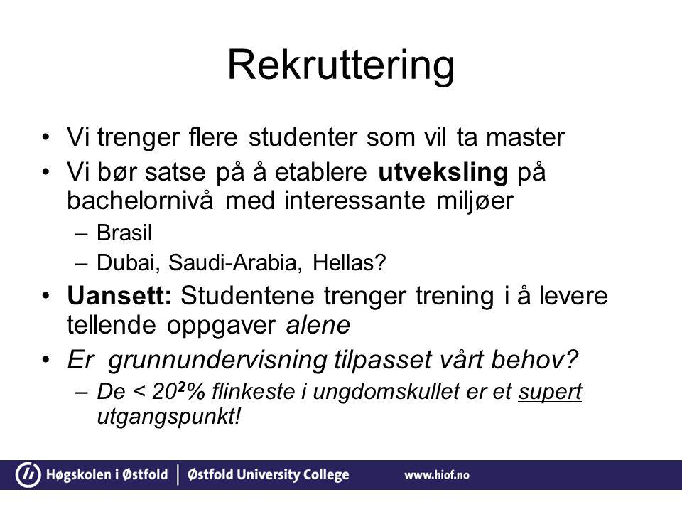 Rekruttering Vi trenger flere studenter som vil ta master Vi bør satse på å etablere utveksling på bachelornivå med interessante miljøer –Brasil –Dubai, Saudi-Arabia, Hellas.