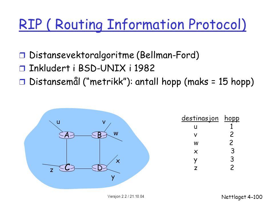 Versjon 2.2 / 21.10.04 Nettlaget4-100 RIP ( Routing Information Protocol) r Distansevektoralgoritme (Bellman-Ford) r Inkludert i BSD-UNIX i 1982 r Dis