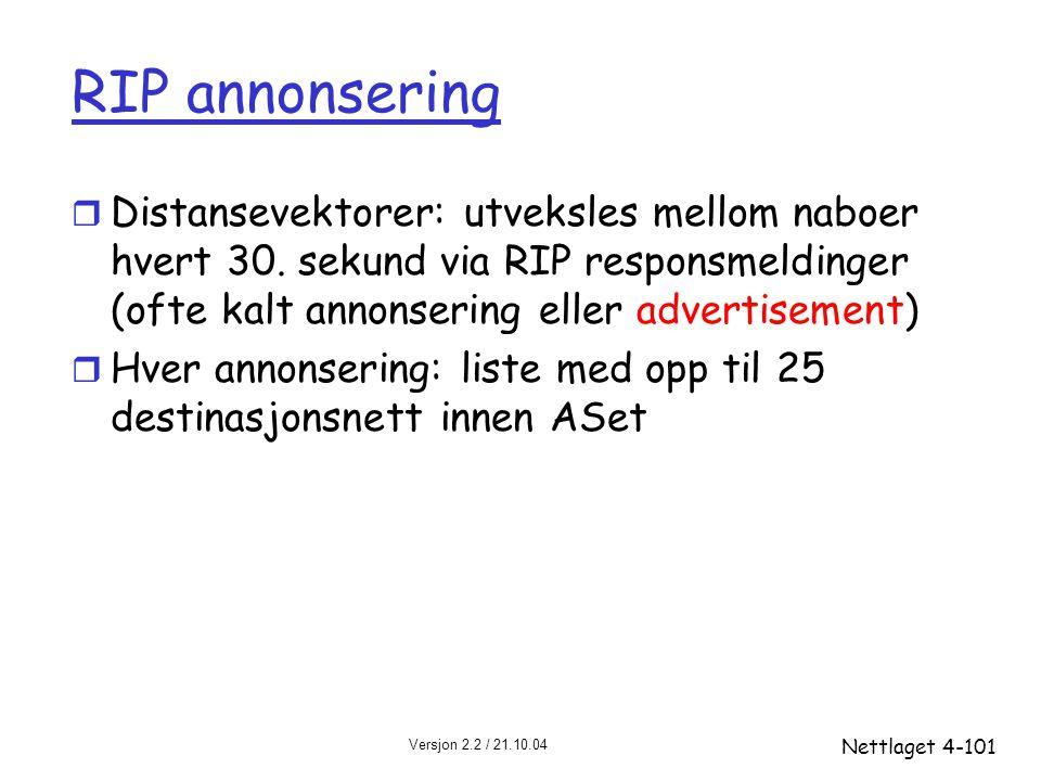 Versjon 2.2 / 21.10.04 Nettlaget4-101 RIP annonsering r Distansevektorer: utveksles mellom naboer hvert 30. sekund via RIP responsmeldinger (ofte kalt