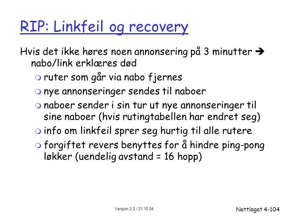 Versjon 2.2 / 21.10.04 Nettlaget4-104 RIP: Linkfeil og recovery Hvis det ikke høres noen annonsering på 3 minutter  nabo/link erklæres død m ruter so