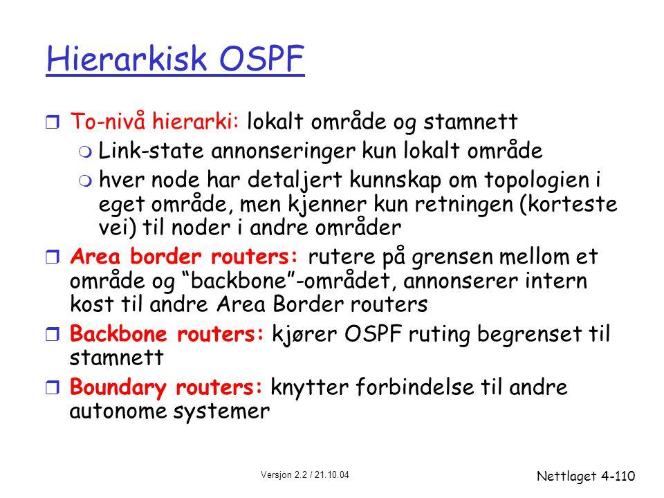 Versjon 2.2 / 21.10.04 Nettlaget4-110 Hierarkisk OSPF r To-nivå hierarki: lokalt område og stamnett m Link-state annonseringer kun lokalt område m hve