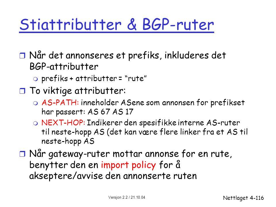 Versjon 2.2 / 21.10.04 Nettlaget4-116 Stiattributter & BGP-ruter r Når det annonseres et prefiks, inkluderes det BGP-attributter m prefiks + attributt