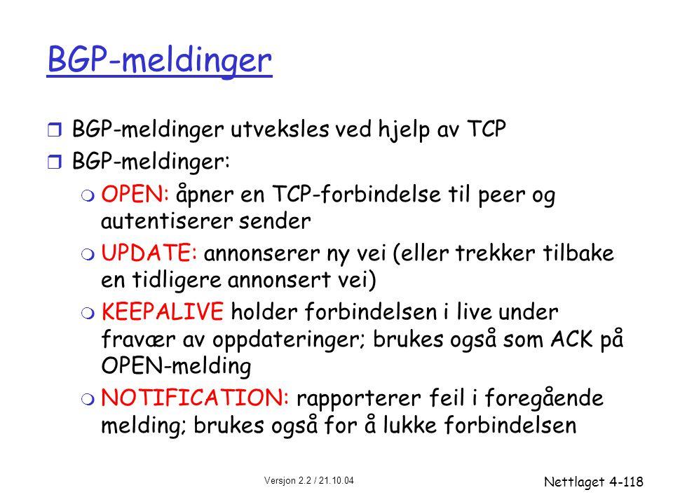 Versjon 2.2 / 21.10.04 Nettlaget4-118 BGP-meldinger r BGP-meldinger utveksles ved hjelp av TCP r BGP-meldinger: m OPEN: åpner en TCP-forbindelse til p