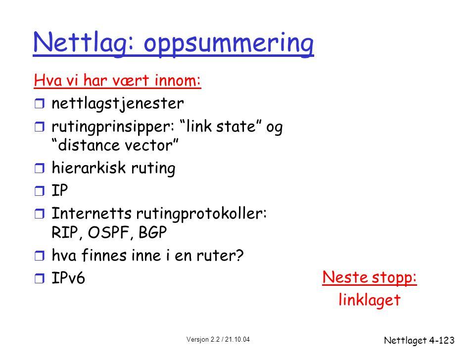 """Versjon 2.2 / 21.10.04 Nettlaget4-123 Nettlag: oppsummering Neste stopp: linklaget Hva vi har vært innom: r nettlagstjenester r rutingprinsipper: """"lin"""