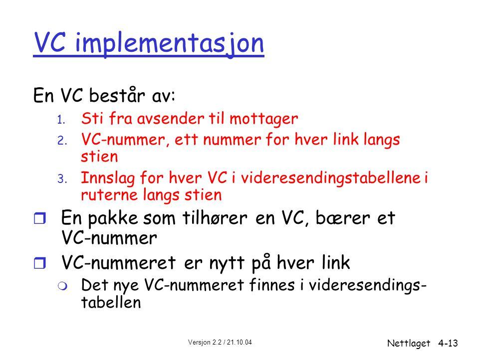 Versjon 2.2 / 21.10.04 Nettlaget4-13 VC implementasjon En VC består av: 1. Sti fra avsender til mottager 2. VC-nummer, ett nummer for hver link langs