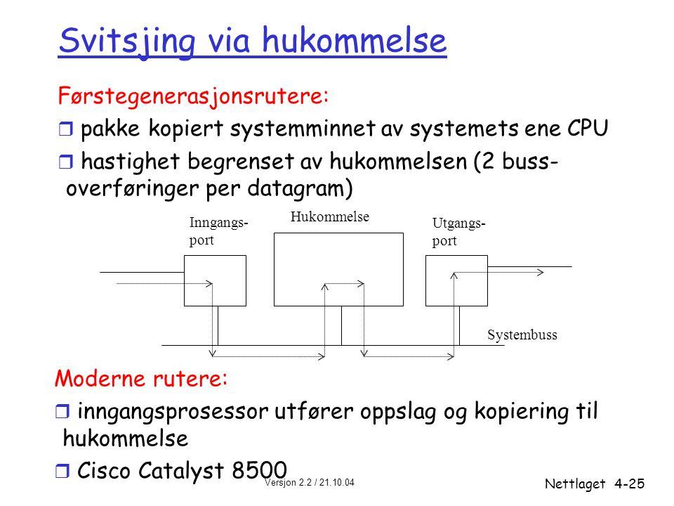 Versjon 2.2 / 21.10.04 Nettlaget4-25 Svitsjing via hukommelse Førstegenerasjonsrutere: r pakke kopiert systemminnet av systemets ene CPU r hastighet b