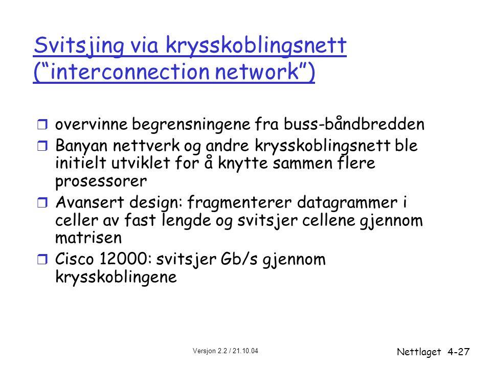 """Versjon 2.2 / 21.10.04 Nettlaget4-27 Svitsjing via krysskoblingsnett (""""interconnection network"""") r overvinne begrensningene fra buss-båndbredden r Ban"""