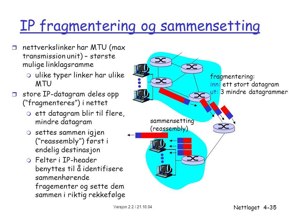 Versjon 2.2 / 21.10.04 Nettlaget4-35 IP fragmentering og sammensetting r nettverkslinker har MTU (max transmission unit) – største mulige linklagsramm
