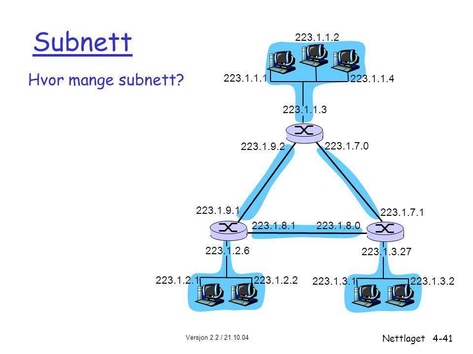 Versjon 2.2 / 21.10.04 Nettlaget4-41 Subnett Hvor mange subnett? 223.1.1.1 223.1.1.3 223.1.1.4 223.1.2.2 223.1.2.1 223.1.2.6 223.1.3.2 223.1.3.1 223.1