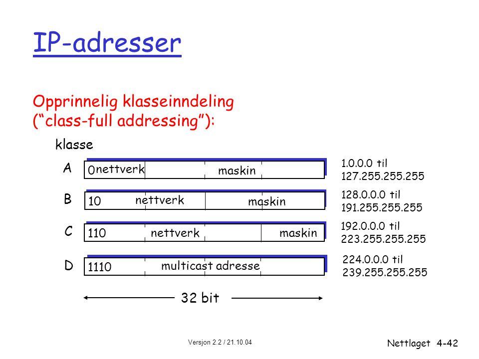 Versjon 2.2 / 21.10.04 Nettlaget4-42 IP-adresser 0 nettverk maskin 10 nettverk maskin 110 nettverkmaskin 1110 multicast adresse A B C D klasse 1.0.0.0