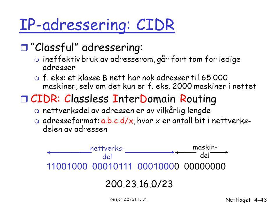 """Versjon 2.2 / 21.10.04 Nettlaget4-43 IP-adressering: CIDR r """"Classful"""" adressering: m ineffektiv bruk av adresserom, går fort tom for ledige adresser"""
